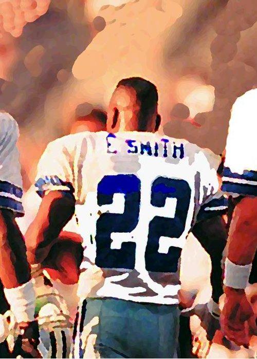 Dallas Cowboys Greeting Card featuring the mixed media Dallas Cowboys Triplets by Paul Van Scott