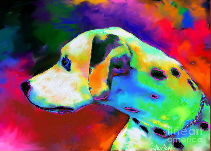 Dalmatian Dog Greeting Card featuring the painting Dalmatian Dog Portrait by Svetlana Novikova