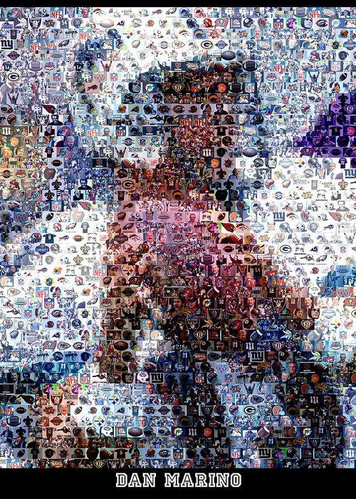 Dan Marino Greeting Card featuring the digital art Dan Marino Mosaic by Paul Van Scott