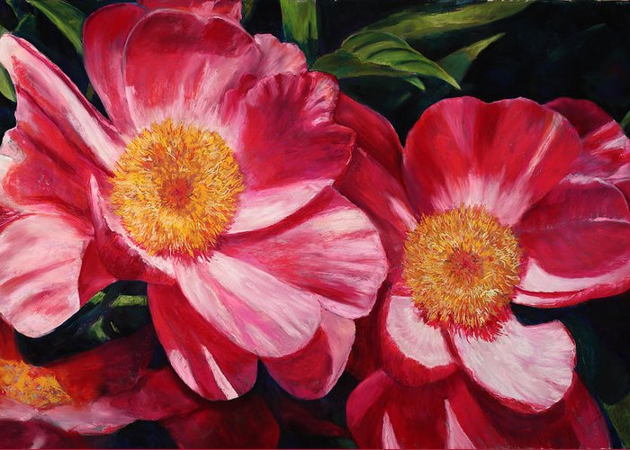Peonies Greeting Card featuring the painting Dance Of The Peonies by Billie Colson
