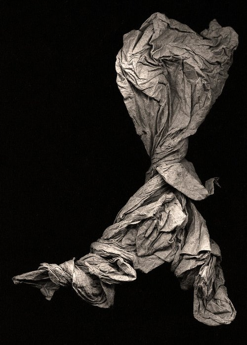 Origami Greeting Card featuring the sculpture Dancer Two by Peter Cutler