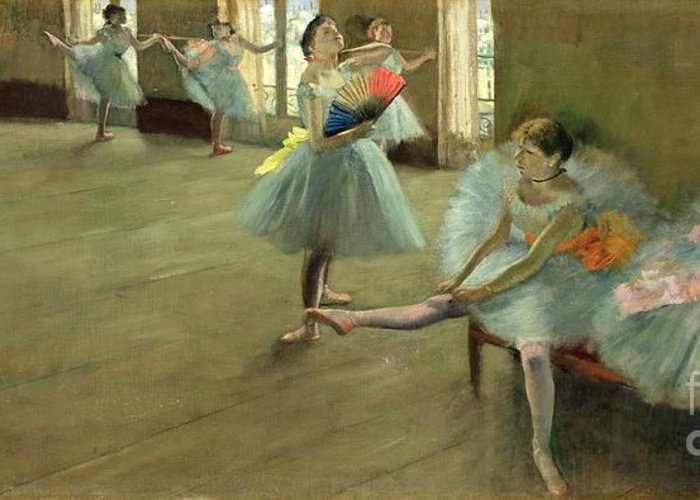Dancers In The Classroom Greeting Card featuring the painting Dancers In The Classroom by Edgar Degas