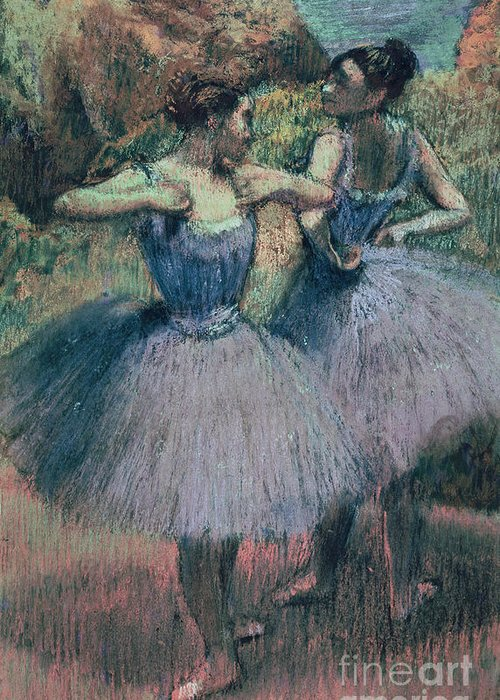 Dancers In Violet (pastel On Paper) By Edgar Degas (1834-1917) Greeting Card featuring the pastel Dancers In Violet by Edgar Degas