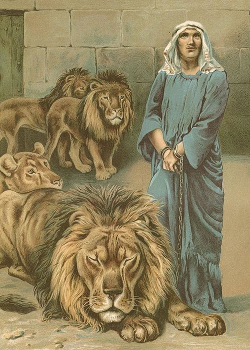 Daniel In The Lions' Den By John Lawson (19th Century) Bible Greeting Card featuring the painting Daniel In The Lions Den by John Lawson