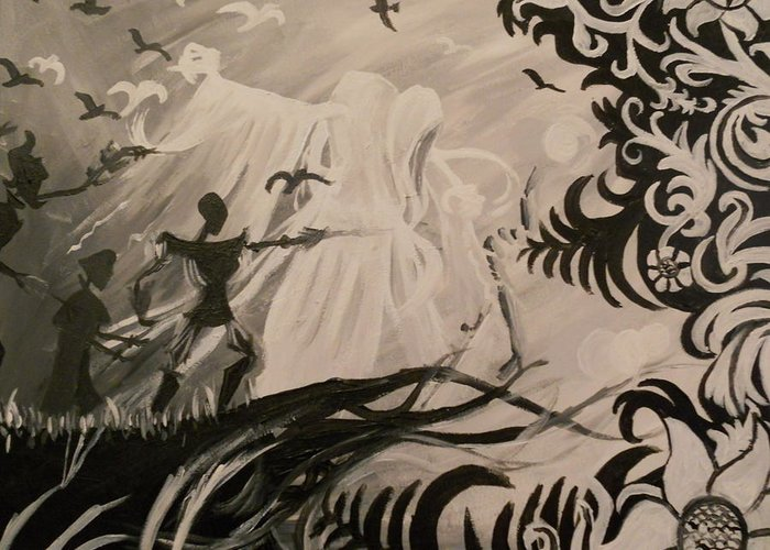 The Greeting Card featuring the painting Dark And Light by Lisa Leeman
