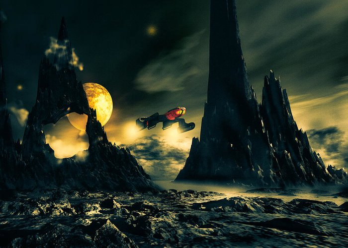 Science Fiction Greeting Card featuring the digital art Dark Planet by Bob Orsillo