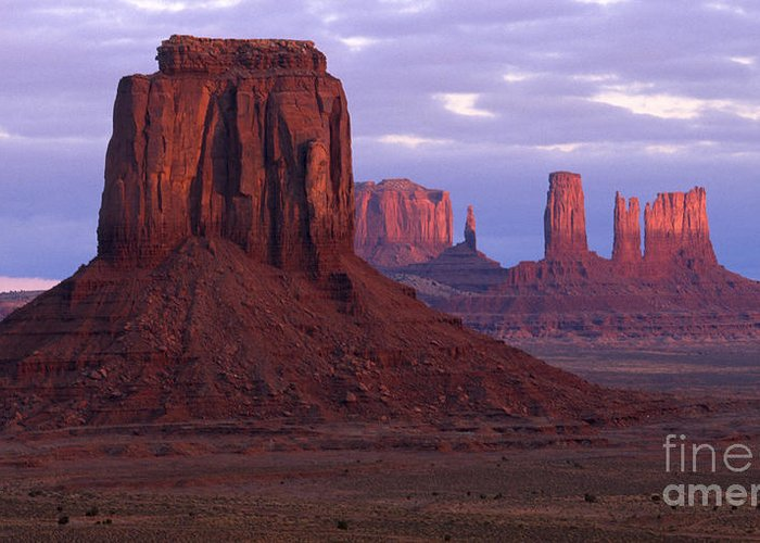 Monument Valley Greeting Card featuring the photograph Dawn At Monument Valley by Sandra Bronstein