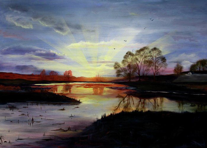 Sunrise Greeting Card featuring the painting Dawn by Jane Autry