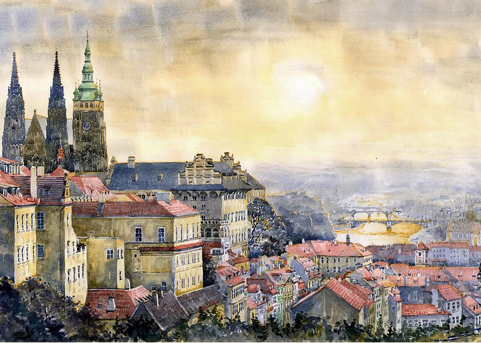 Watercolor Greeting Card featuring the painting Dawn Of Prague by Yuriy Shevchuk
