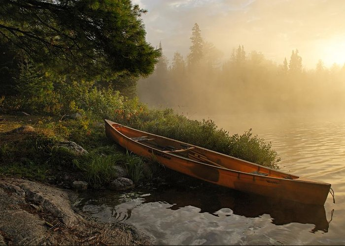 Boundary Waters Canoe Area Wilderness Greeting Card featuring the photograph Dawn On Boot Lake by Larry Ricker