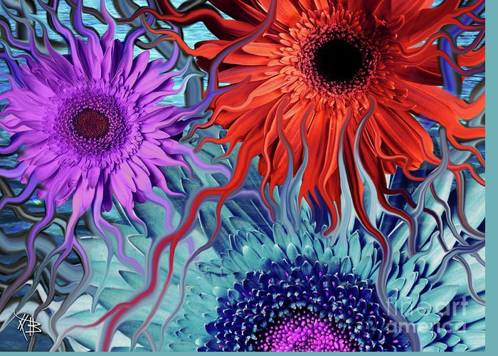 Flower Greeting Card featuring the painting Deep Water Daisy Dance by Christopher Beikmann