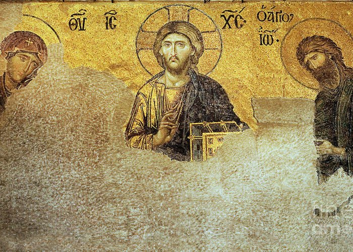 Christian Mosaic Greeting Card featuring the photograph Deesis Mosaic Hagia Sophia-christ Pantocrator-judgement Day by Urft Valley Art