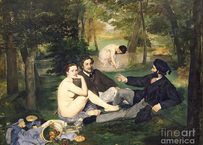 Dejeuner Greeting Card featuring the painting Dejeuner Sur L Herbe by Edouard Manet