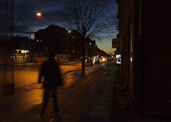 Nobody Greeting Card featuring the photograph Denmark, Copenhagen, Man Walking by Keenpress