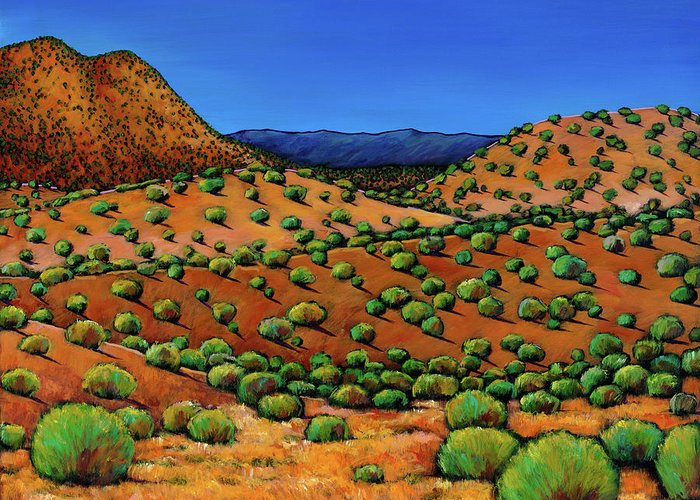 New Mexico Desert Greeting Card featuring the painting Desert Afternoon by Johnathan Harris