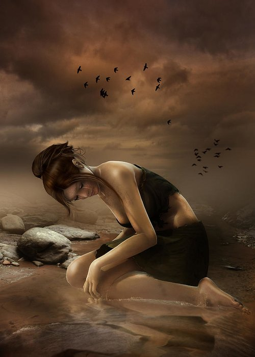 Sadness Greeting Card featuring the digital art Desolation by Mary Hood