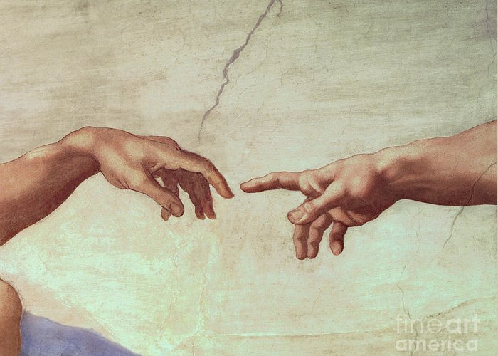 Hands Greeting Card featuring the painting Detail From The Creation Of Adam by Michelangelo
