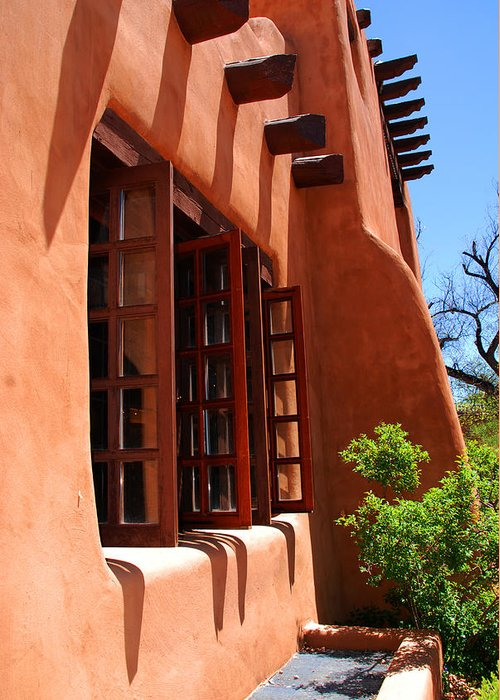 Santa Fe Greeting Card featuring the photograph Detail Of A Pueblo Style Architecture In Santa Fe by Susanne Van Hulst