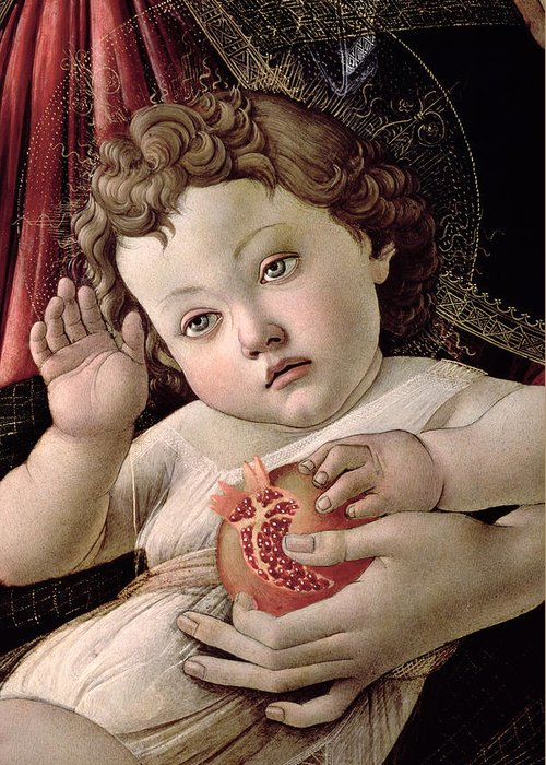 Detail Greeting Card featuring the painting Detail Of The Christ Child From The Madonna Of The Pomegranate by Sandro Botticelli