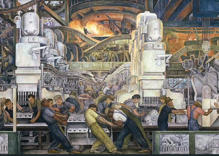 Machinery; Factory; Production Line; Labour; Worker; Male; Industrial Age; Technology; Automobile; Interior; Manufacturing; Work; Detroit Industry Greeting Card featuring the painting Detroit Industry  North Wall by Diego Rivera
