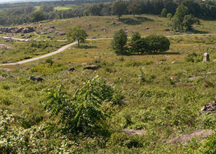 Panorama Greeting Card featuring the photograph Devils Den From Little Round Top by David Bearden