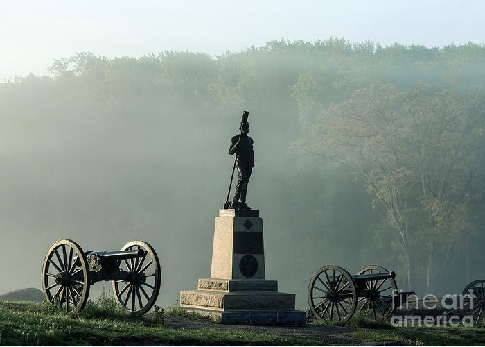 4th New York Independent Battery Greeting Card featuring the photograph Devil's Den Monument At Gettysburg by John Greim