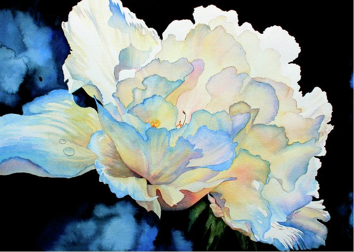 Peony Greeting Card featuring the painting Dew Drops On Peony by Hanne Lore Koehler