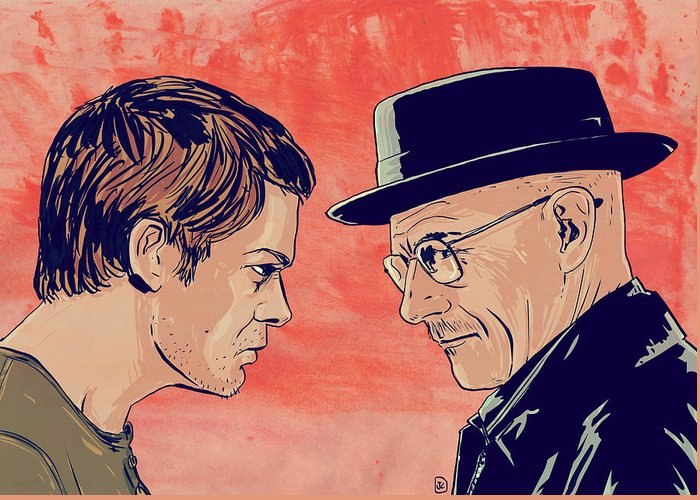 Dexter Morgan Greeting Card featuring the drawing Dexter And Walter by Giuseppe Cristiano