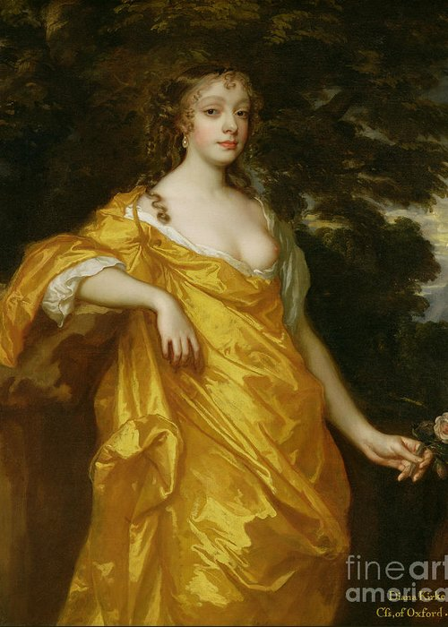 Diana Greeting Card featuring the painting Diana Kirke-later Countess Of Oxford by Sir Peter Lely