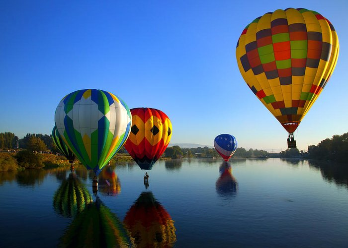 Balloon Greeting Card featuring the photograph Dip And Go by Mike Dawson