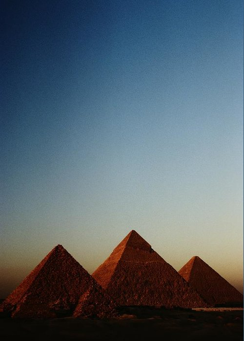 Pyramids Of Giza Greeting Card featuring the photograph Distant View Of The Pyramids Of Giza by Kenneth Garrett