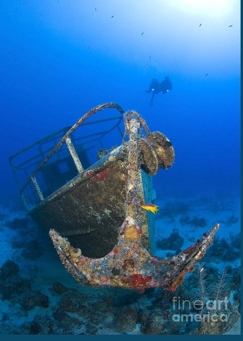 Anchor Greeting Card featuring the photograph Divers Visit The Pelicano Shipwreck by Karen Doody
