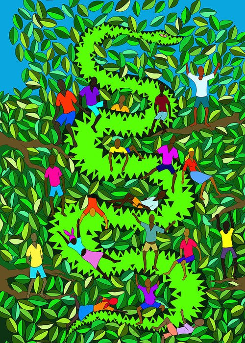 Haitian Art Greeting Card featuring the digital art Divine Serpent by Dimitri Beaulieu