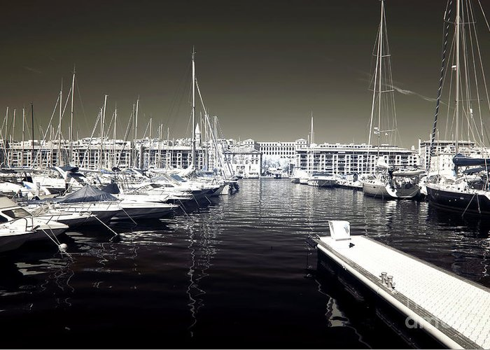 Dock In The Port Greeting Card featuring the photograph Dock In The Port by John Rizzuto