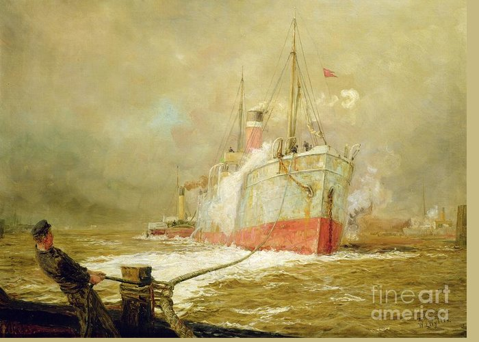 Docking Greeting Card featuring the painting Docking A Cargo Ship by William Lionel Wyllie