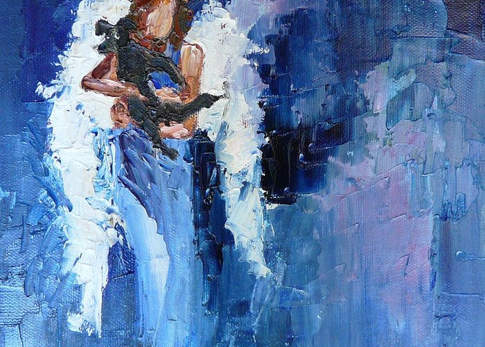 Angel Greeting Card featuring the painting Dogs Need Angels by Judy Mackey