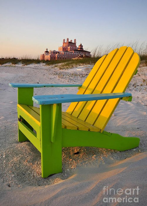 Don Cesar Hotel Greeting Card featuring the photograph Don Cesar And Beach Chair by David Lee Thompson