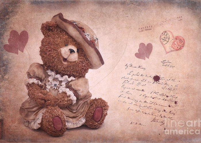 Bear Greeting Card featuring the photograph Dorothy In Love by Angela Doelling AD DESIGN Photo and PhotoArt