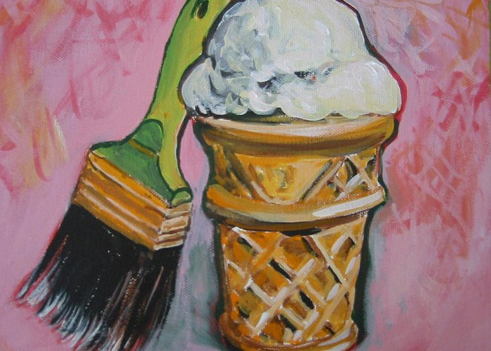 Brush Greeting Card featuring the painting Double Icon by Tilly Strauss