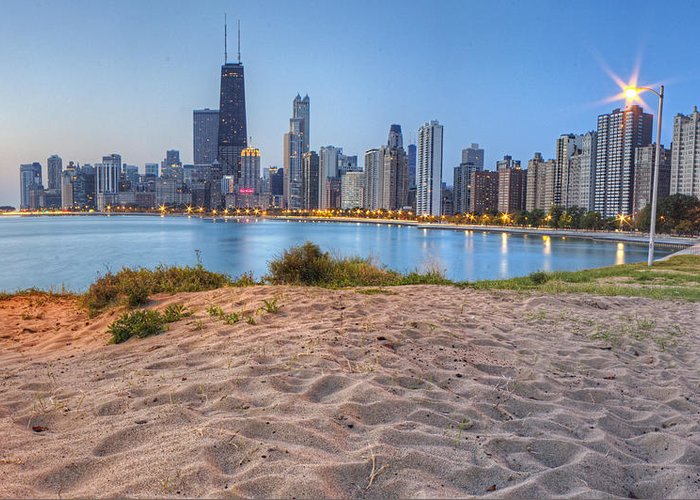 Chicago Greeting Card featuring the photograph Downtown Chicago From North Beach by Twenty Two North Photography
