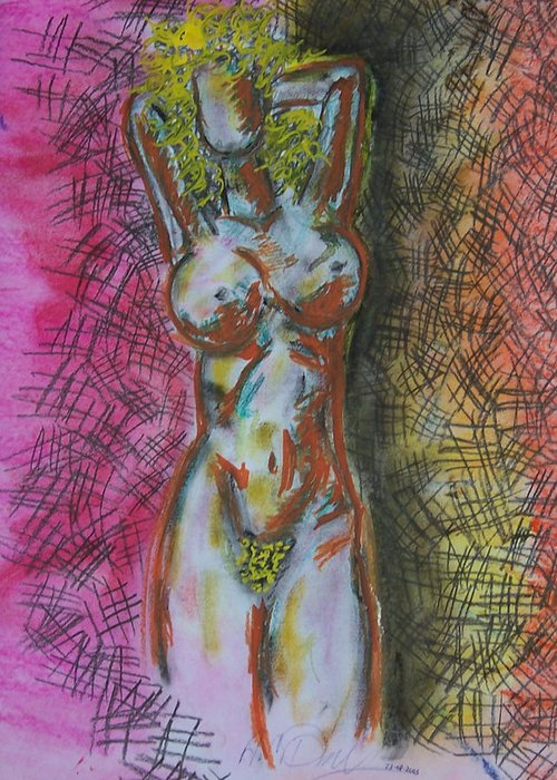 Abstract Greeting Card featuring the drawing Drawing Of A Woman by B and C Art Shop