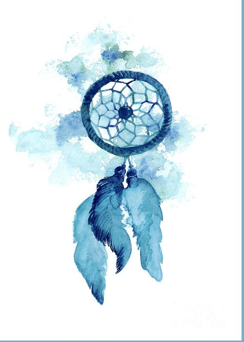 Dream catcher watercolor art print painting greeting card for Dream catcher spray painting