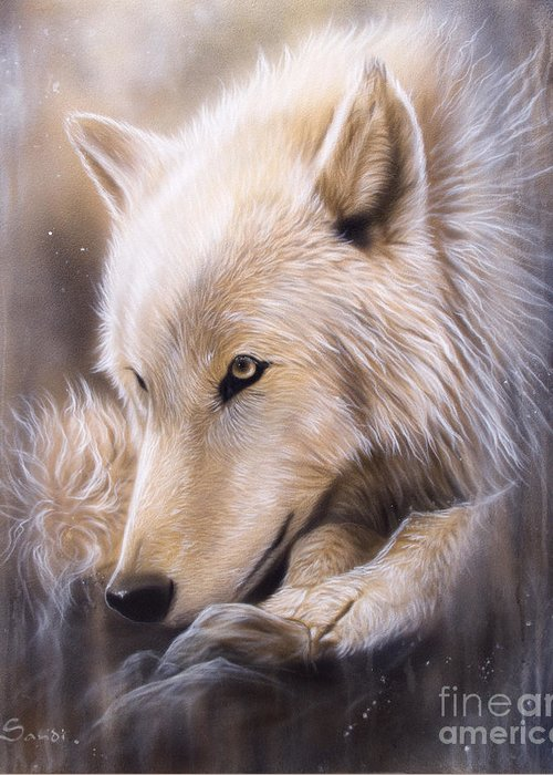 Wildlife Art Greeting Card featuring the painting Dreamscape - Wolf by Sandi Baker