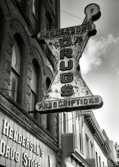 Sign Greeting Card featuring the photograph Drug Store Sign by Steven Ainsworth
