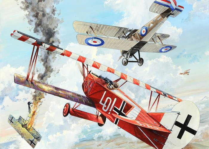 Aviation Greeting Card featuring the painting Du Doch Nicht by Charles Taylor