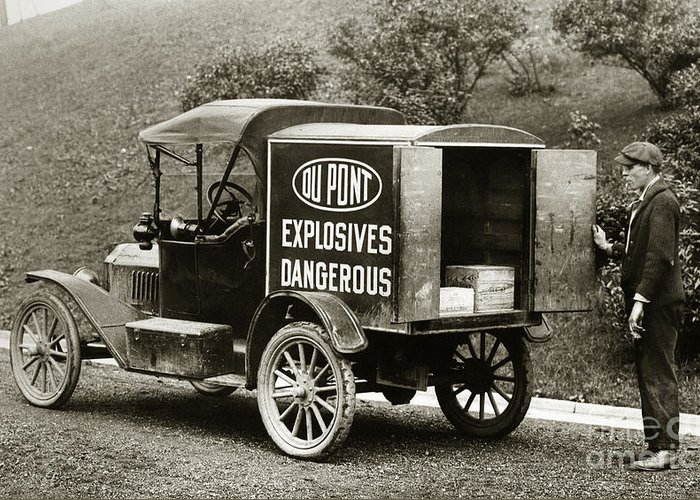 Du Pont Greeting Card featuring the photograph Du Pont Co. Explosives Truck Pennsylvania Coal Fields 1916 by Arthur Miller