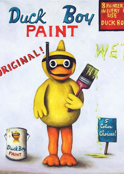 Duck Greeting Card featuring the painting Duck Boy Paint by Leah Saulnier The Painting Maniac