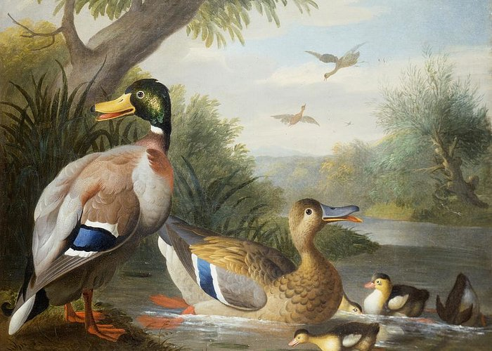 Ducks Greeting Card featuring the painting Ducks In A River Landscape by Jakob Bogdany