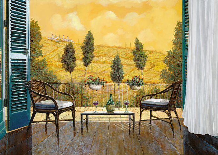 Terrace Greeting Card featuring the painting due bicchieri di Chianti by Guido Borelli