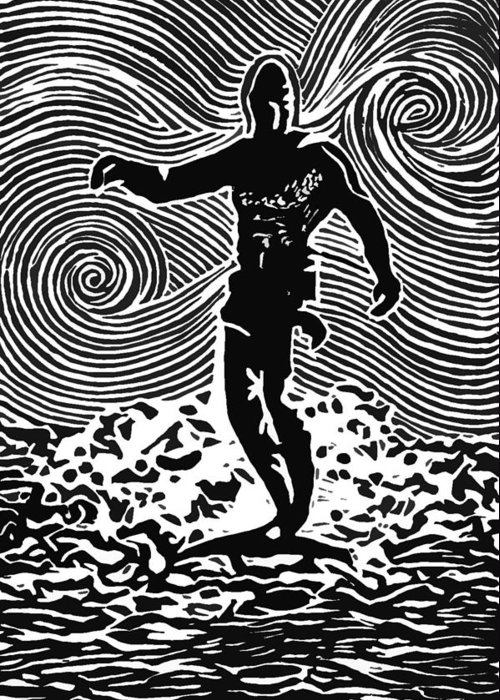 Surf Art Greeting Card featuring the painting Duke by Stephanie Troxell